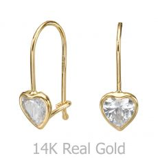 Dangle Earrings in14K Yellow Gold - Heart of Light
