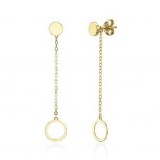 14K Yellow Gold Women's Earrings - Dangling Circles