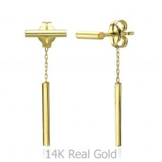 Stud Earrings in 14K Yellow Gold - Ropes of Gold