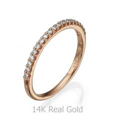 Diamond Band Ring in 14K Rose Gold - Princess of Summer