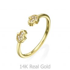Open Ring in 14K Yellow Gold - Sparkling Hamsa