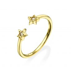 Open Ring in 14K Yellow Gold - Shinning Stars