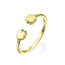 Open Ring in 14K Yellow Gold - Clovers