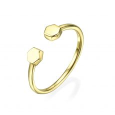 14K Yellow Gold Rings - Hexagons