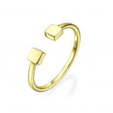 Open Ring in 14K Yellow Gold - Squares