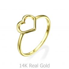 14K Yellow Gold Rings - Heart