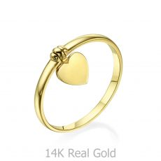 Ring with Charm in 14K Yellow Gold - Heart Charm