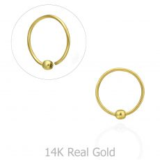 Helix / Tragus Piercing in 14K Yellow Gold with Gold Ball - Small
