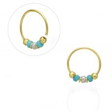 Helix / Tragus Piercing in 14K Yellow Gold with Turquoise Beads - Small