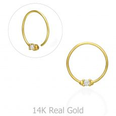 Helix / Tragus Piercing in 14K Yellow Gold with Cubic Zirconia - Large