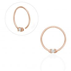 Helix / Tragus Piercing in 14K Rose Gold with Cubic Zirconia - Large