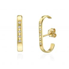 Diamond Cuff Earrings in 14K Yellow Gold - High-Five