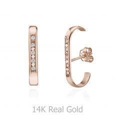 Diamond Cuff Earrings in 14K Rose Gold - High-Five