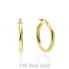 14K Yellow Gold Women's Earrings - M (thin)