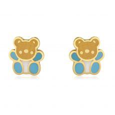 14K Yellow Gold Kid's Stud Earrings - Colorful Teddy - Blue