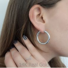 Hoop Earrings in 14K White Gold - L