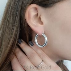 Hoop Earrings in 14K White Gold - M (thick)