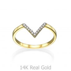 Ring in 14K Yellow Gold - Small V