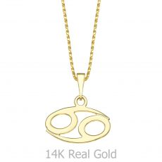 Pendant and Necklace in 14K Yellow Gold - Cancer