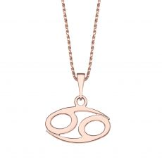 Pendant and Necklace in 14K Rose Gold - Cancer
