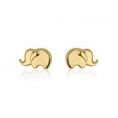 14K Yellow Gold Kid's Stud Earrings - Eli Elephant