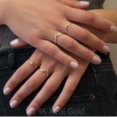 Ring in 14K Yellow Gold - Shiny Rhombus