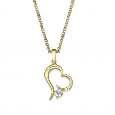 14K Yellow Gold Diamond Women's Pendant - Heart of Atlantis