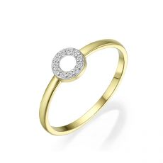14K Yellow Gold Rings - Shimmering circle