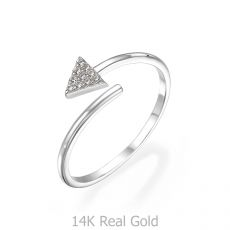 14K White Gold Rings - Shimmering arrow