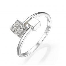 14K White Gold Rings - Shimmering cubes
