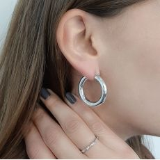 14K White Gold Women's Earrings - M (thick)