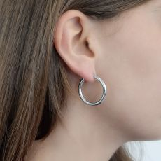 14K White Gold Women's Earrings - M (thin)