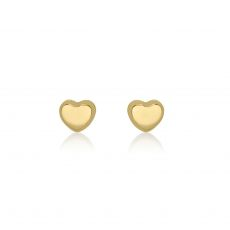 14K Yellow Gold Kid's Stud Earrings - Classic Heart - Small