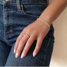 14K White Gold Women's Bracelets - Balls