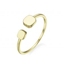 14K Yellow Gold Open Ring - July cubes