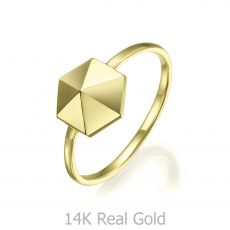 14K Yellow Gold Ring - Pyramid