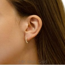 14k Yellow gold women's  Hoop Earrings - Balls