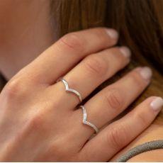 14K White Gold Rings - Delicate V