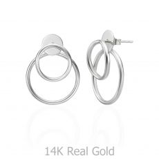 14K White Gold Women's Earrings - Petra