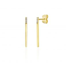 14K Yellow Gold Women's Earrings - Shimmering Golden Bar
