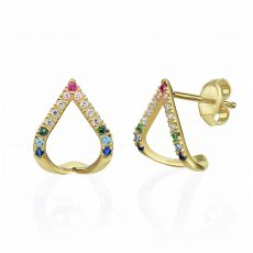 14K Yellow Gold Earrings - Blue Lagoon