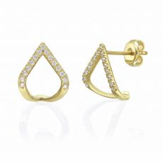 14K Yellow Gold Diamond Earrings - Sparkling Lagoon