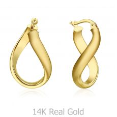 14K Yellow Gold Women's Hoop Earrings - Curved Hoop