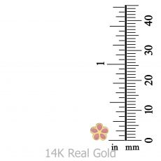 14K Yellow Gold Kid's Stud Earrings - Flowering Daisy - Pink