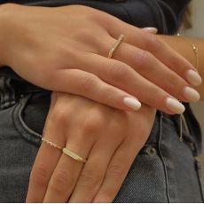 Ring in 14K Yellow Gold - Zirconia line
