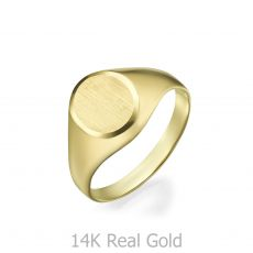 14K Yellow Gold Ring - Matte Circle Seal