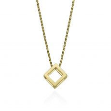 Pendant and Necklace in 14K Yellow Gold - Golden Cube