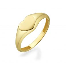 14K Yellow Gold Ring - Heart Seal