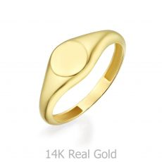 14K Yellow Gold Ring - Glossy Round Seal