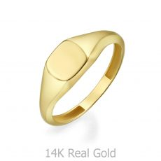 14K Yellow Gold Ring - Glossy Square Seal